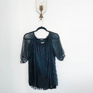 Lola Made in Italy Black Silk Top Size M